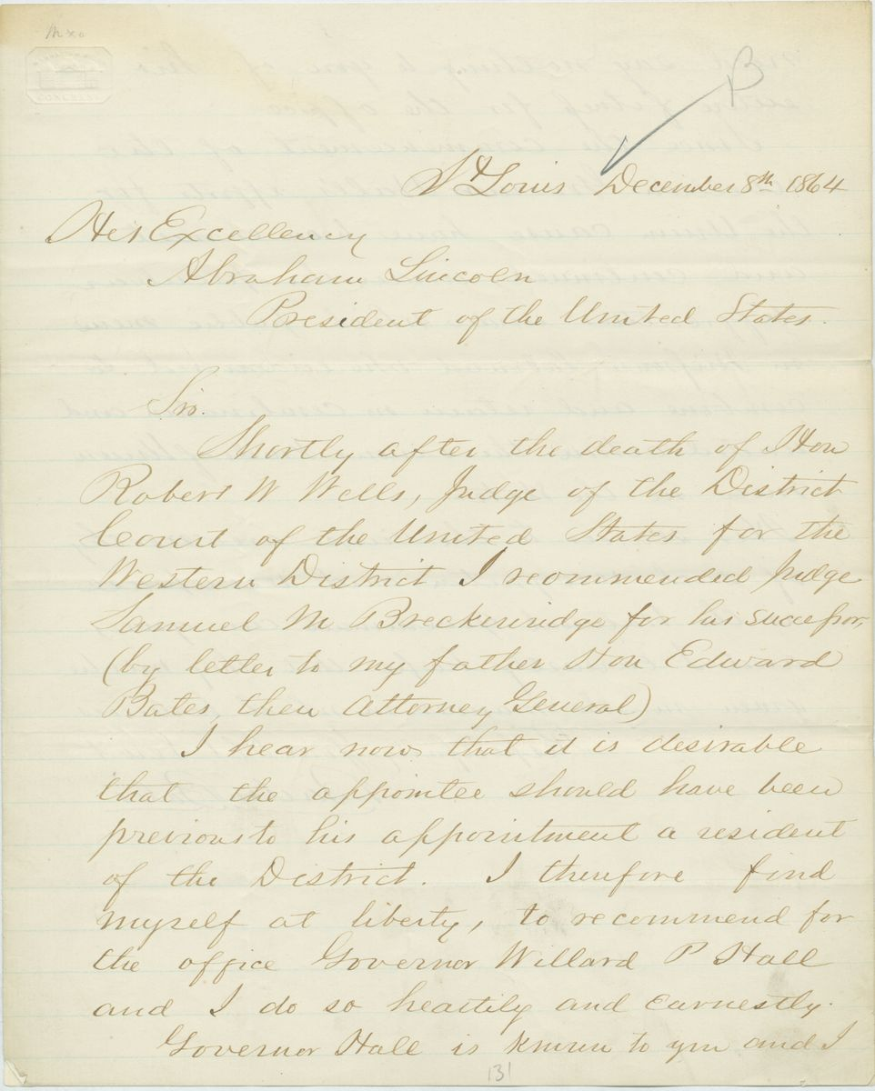 Image: Letter from Barton Bates to Abraham Lincoln