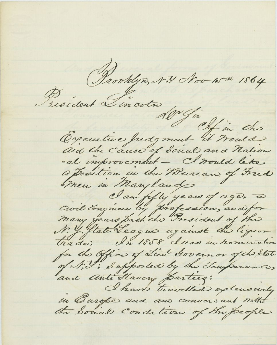 Image: Letter from S. A. Beers to Abraham Lincoln