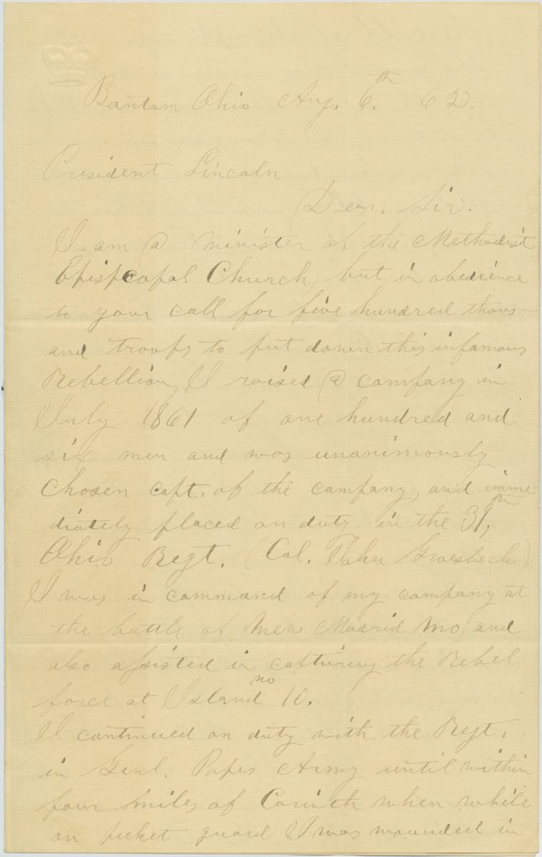 Image: Letter from David C. Benjamin to Abraham Lincoln