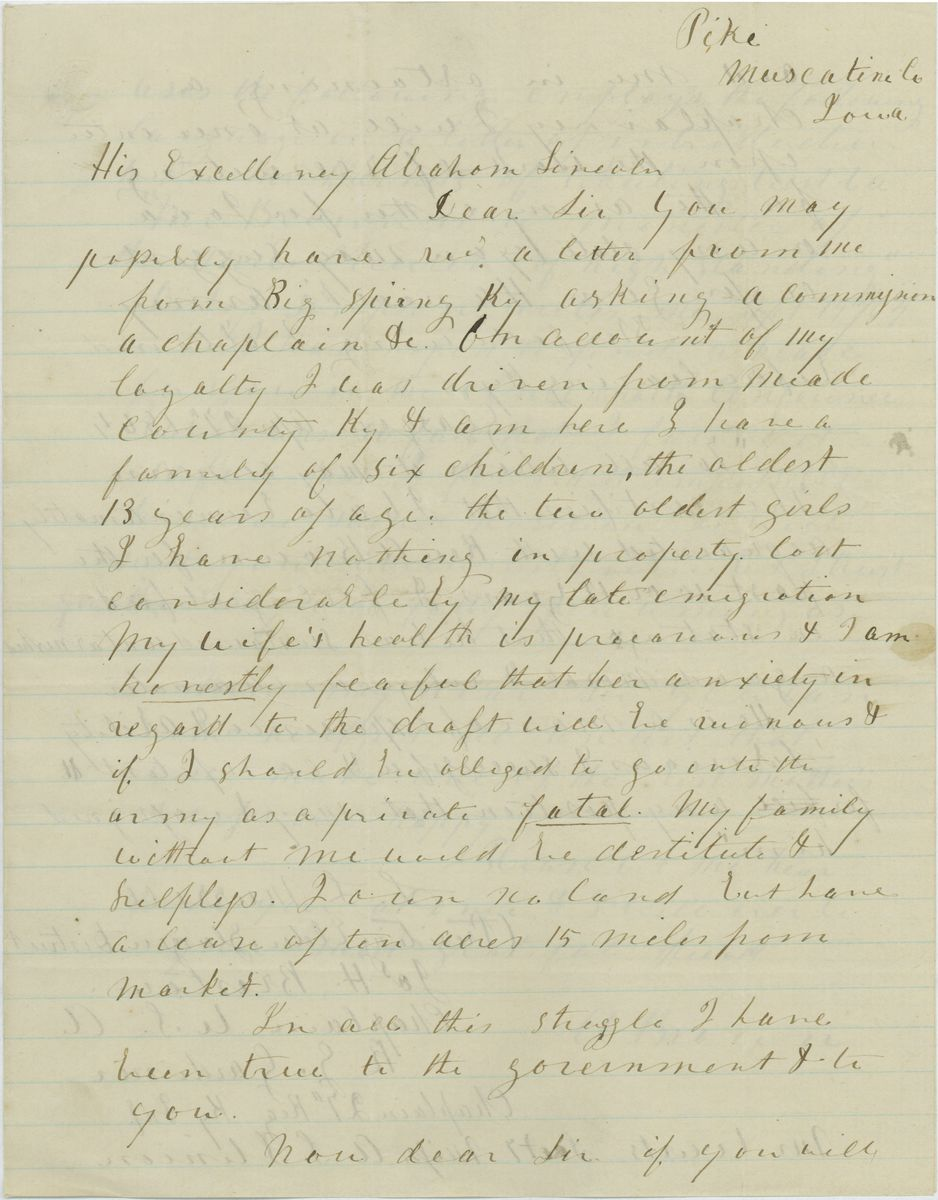 Image: Letter from Rev. A. Brown to Abraham Lincoln