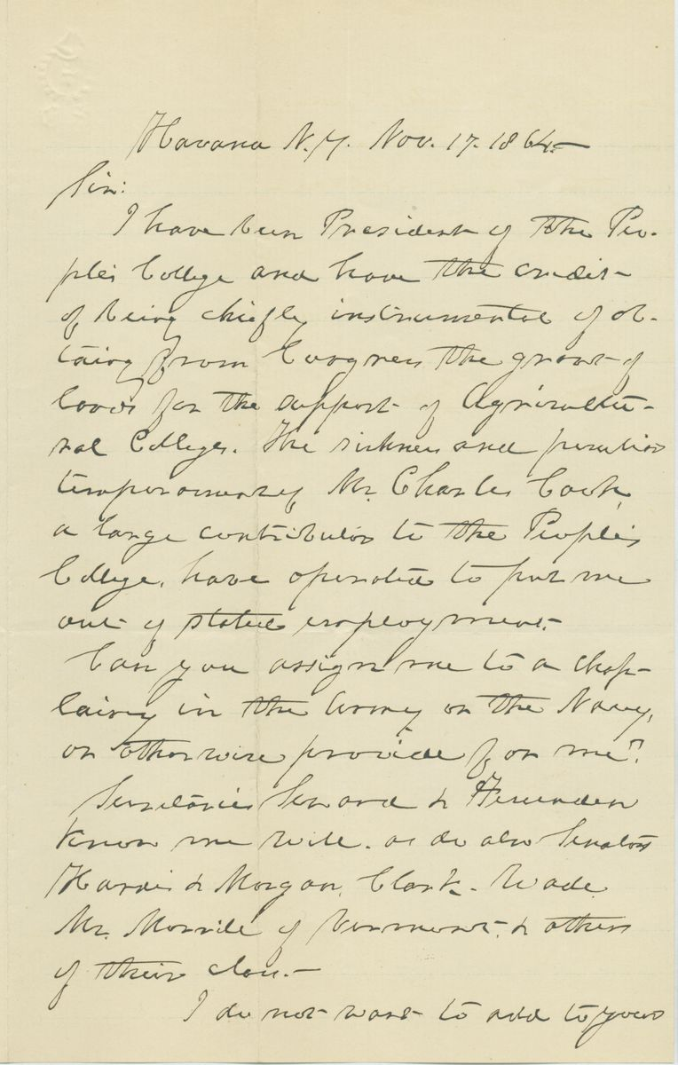 Image: Letter from Amos Brown to Abraham Lincoln