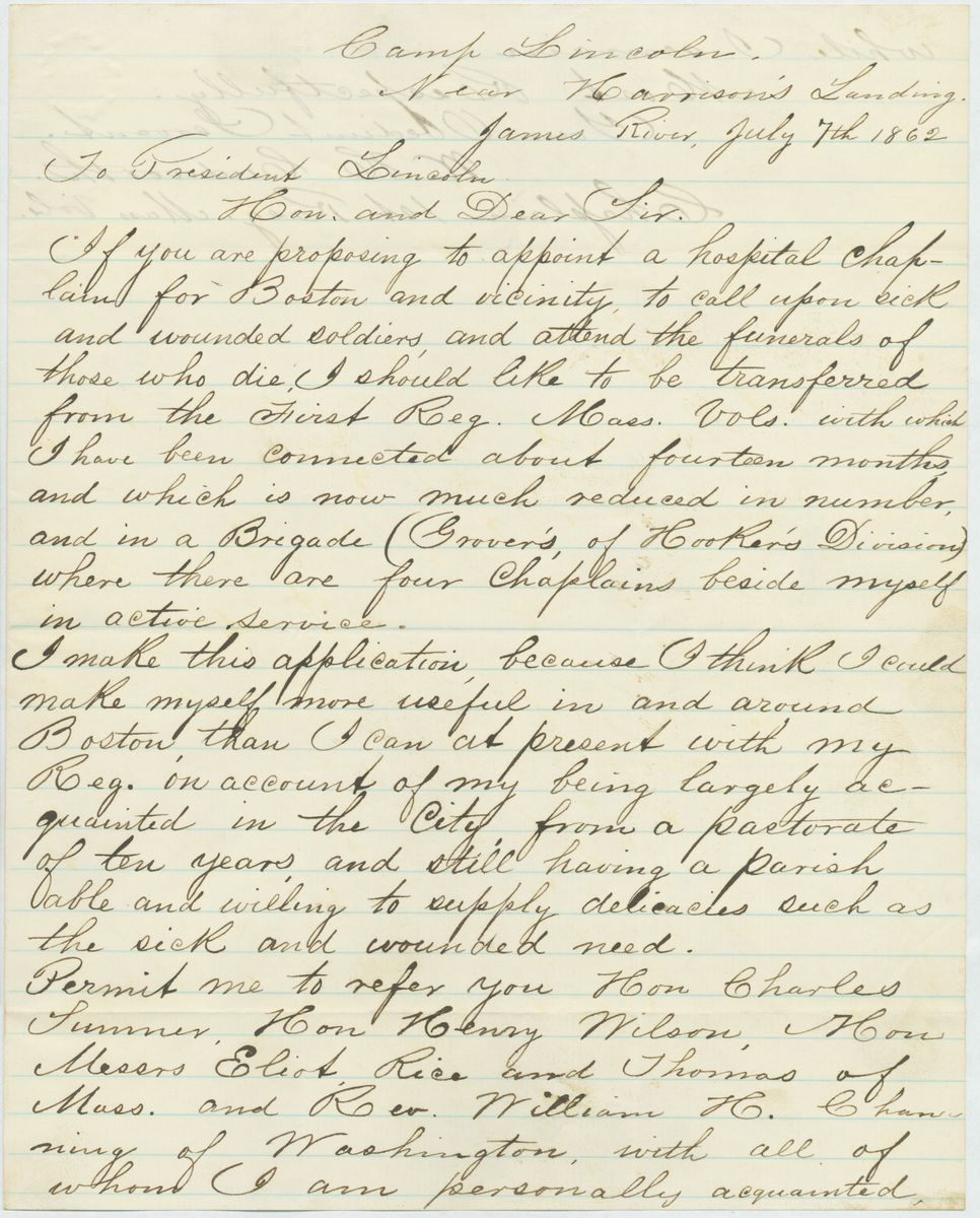 Image: Letter from Warren H. Cudworth to Abraham Lincoln