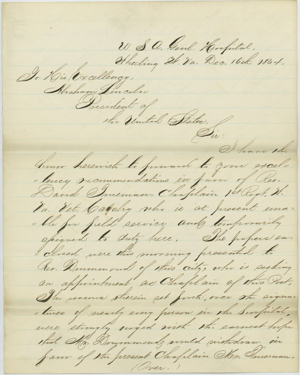 Image: Letter from John Kirker to Abraham Lincoln