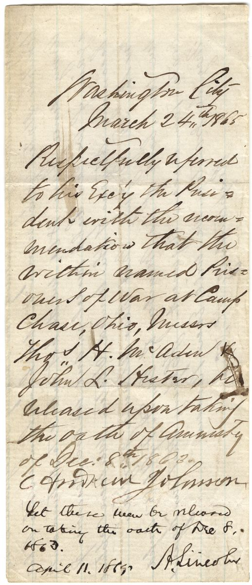 Image: Letter from C. Andrews Johnson to Abraham Lincoln