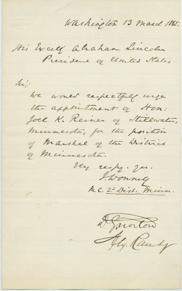 Image: Letter from Ignatius Donnelly and Two Others to Abraham Lincoln