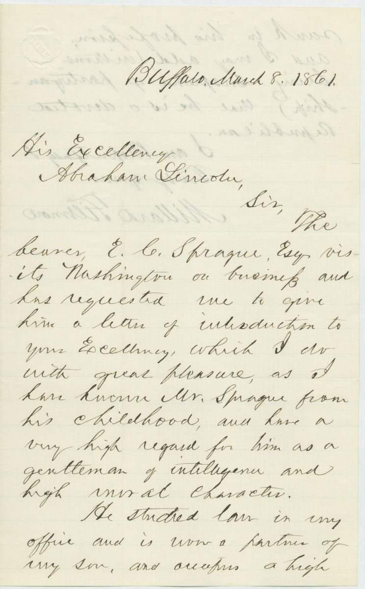 Image: Letter from Millard Fillmore to Abraham Lincoln