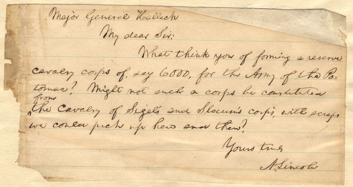 Image: Note from Abraham Lincoln to Henry Halleck