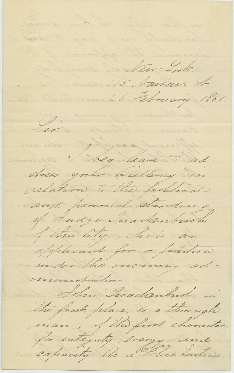 Image: Letter from David R. Jaques to Abraham Lincoln