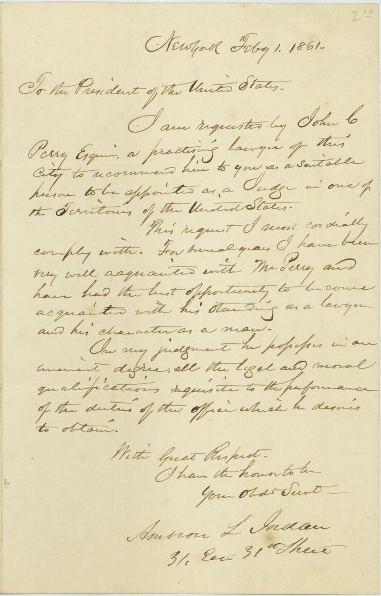 Image: Letter from Ambrose L. Jordan to Abraham Lincoln