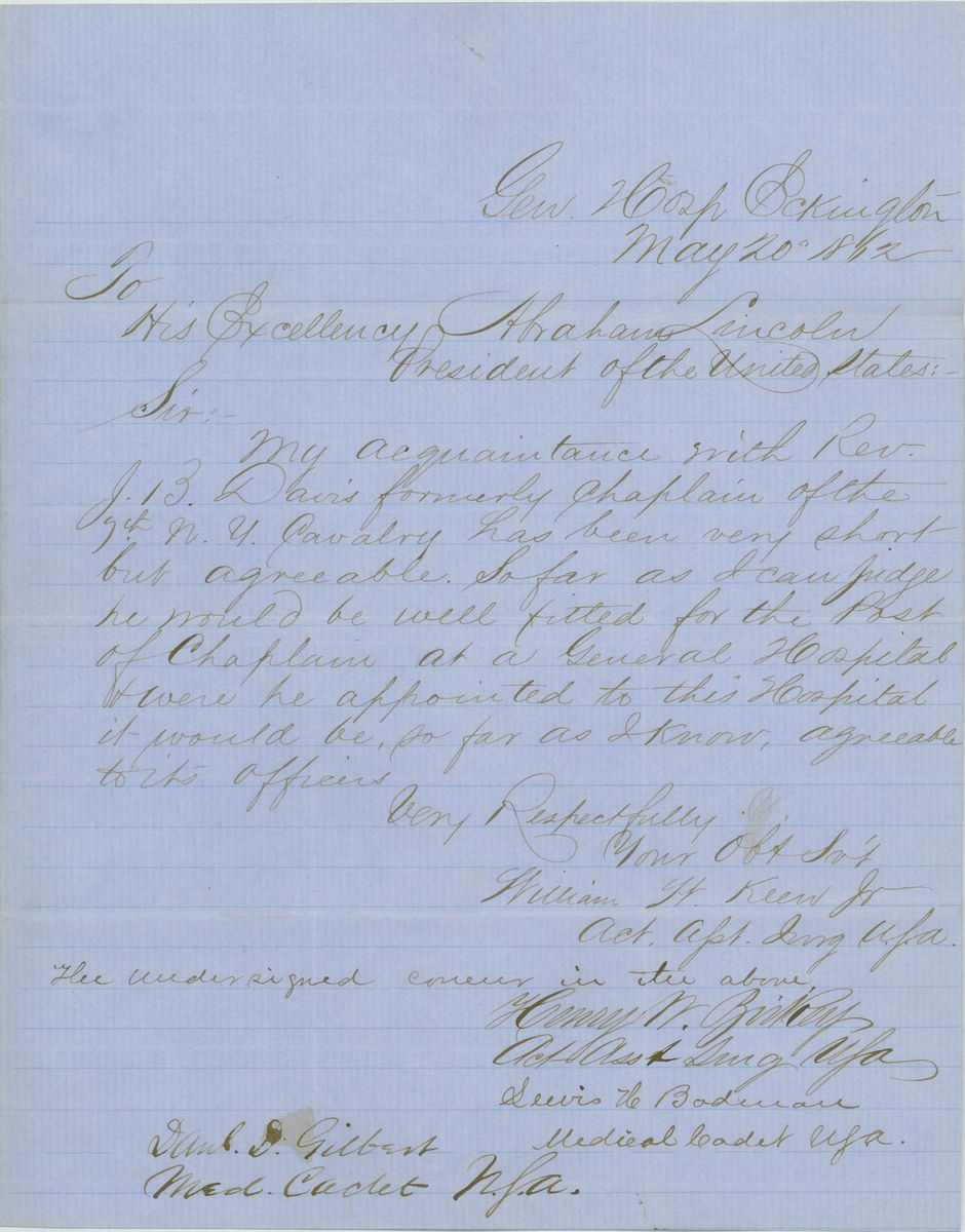 Image: Letter from William W. Keen and Others to Abraham Lincoln