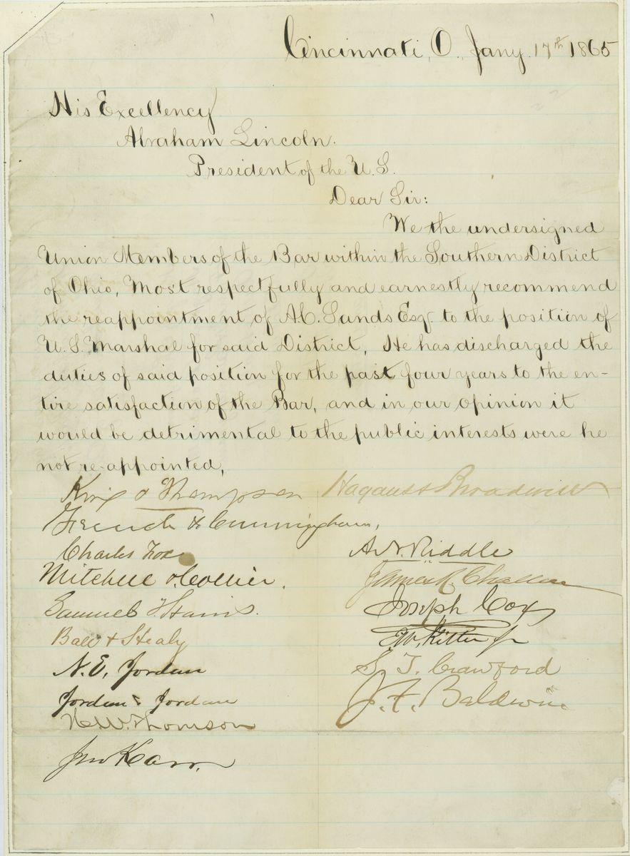 Image: Letter from King & Thompson and Others to Abraham Lincoln