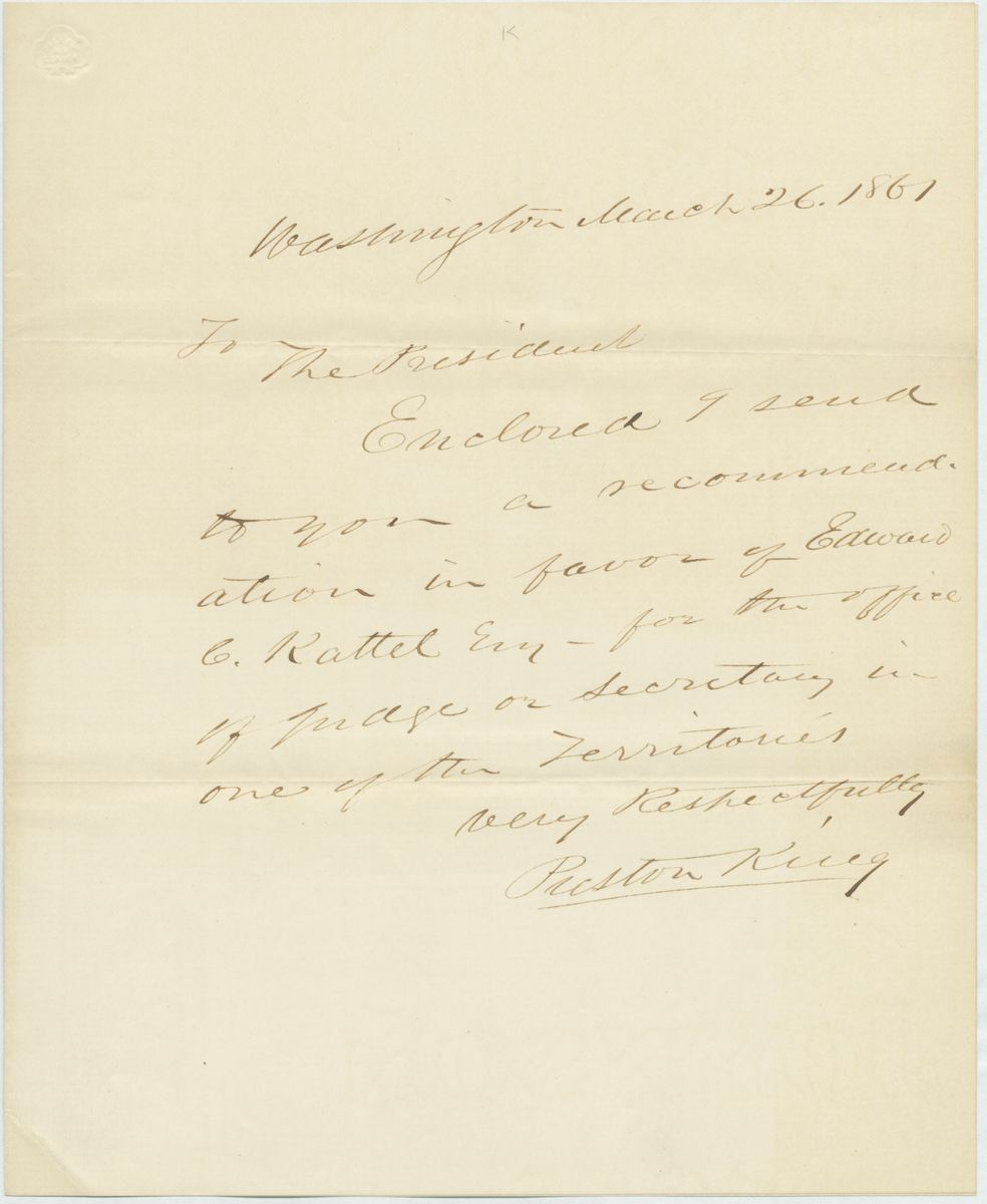 Image: Letter from Preston King to Abraham Lincoln