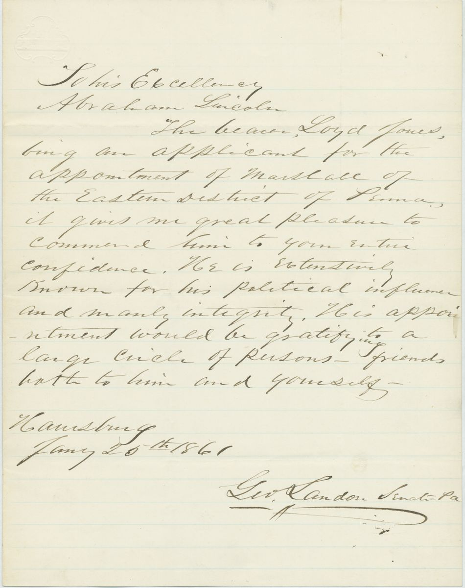 Image: Letter from George Landon to Abraham Lincoln