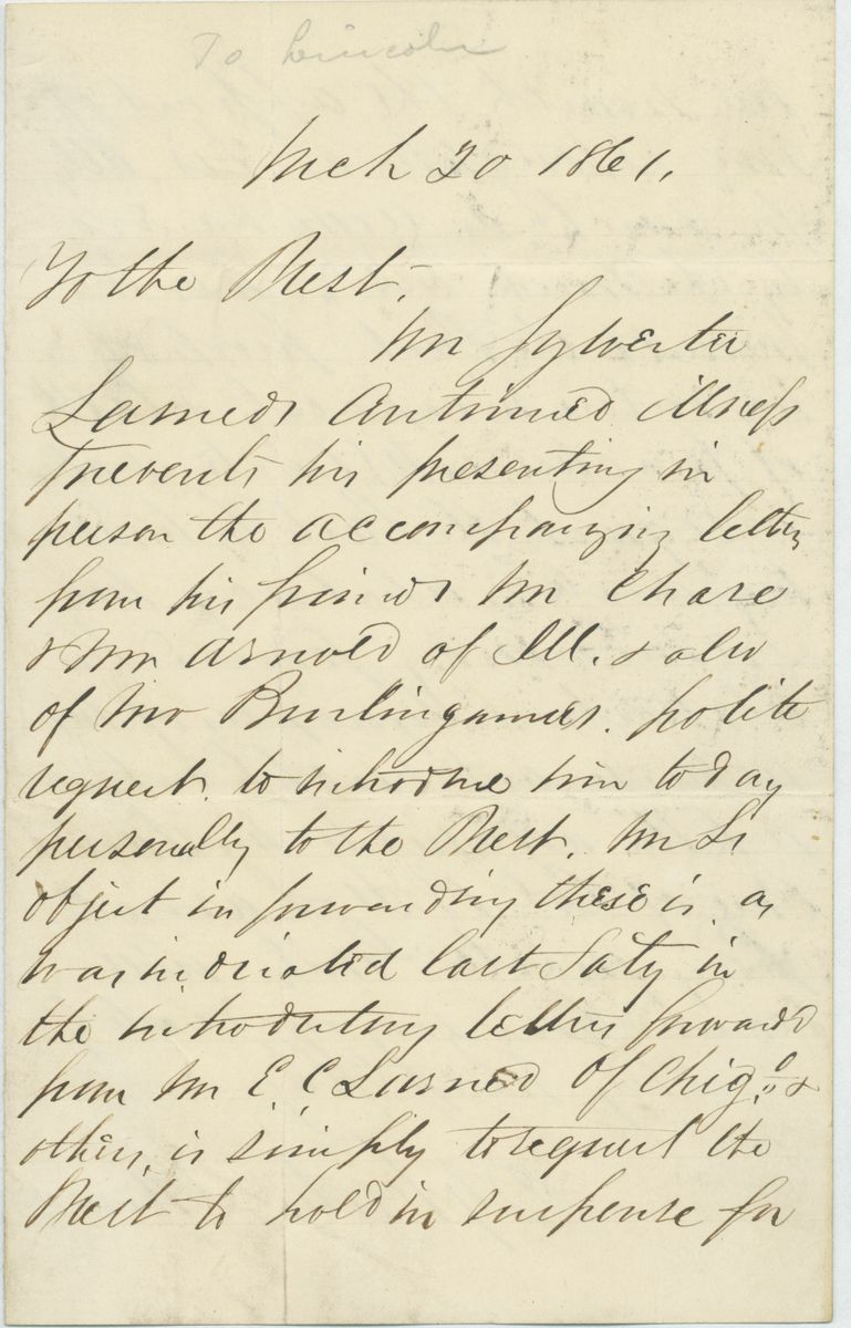 Image: Letter from Sylvester Larned to Abraham Lincoln