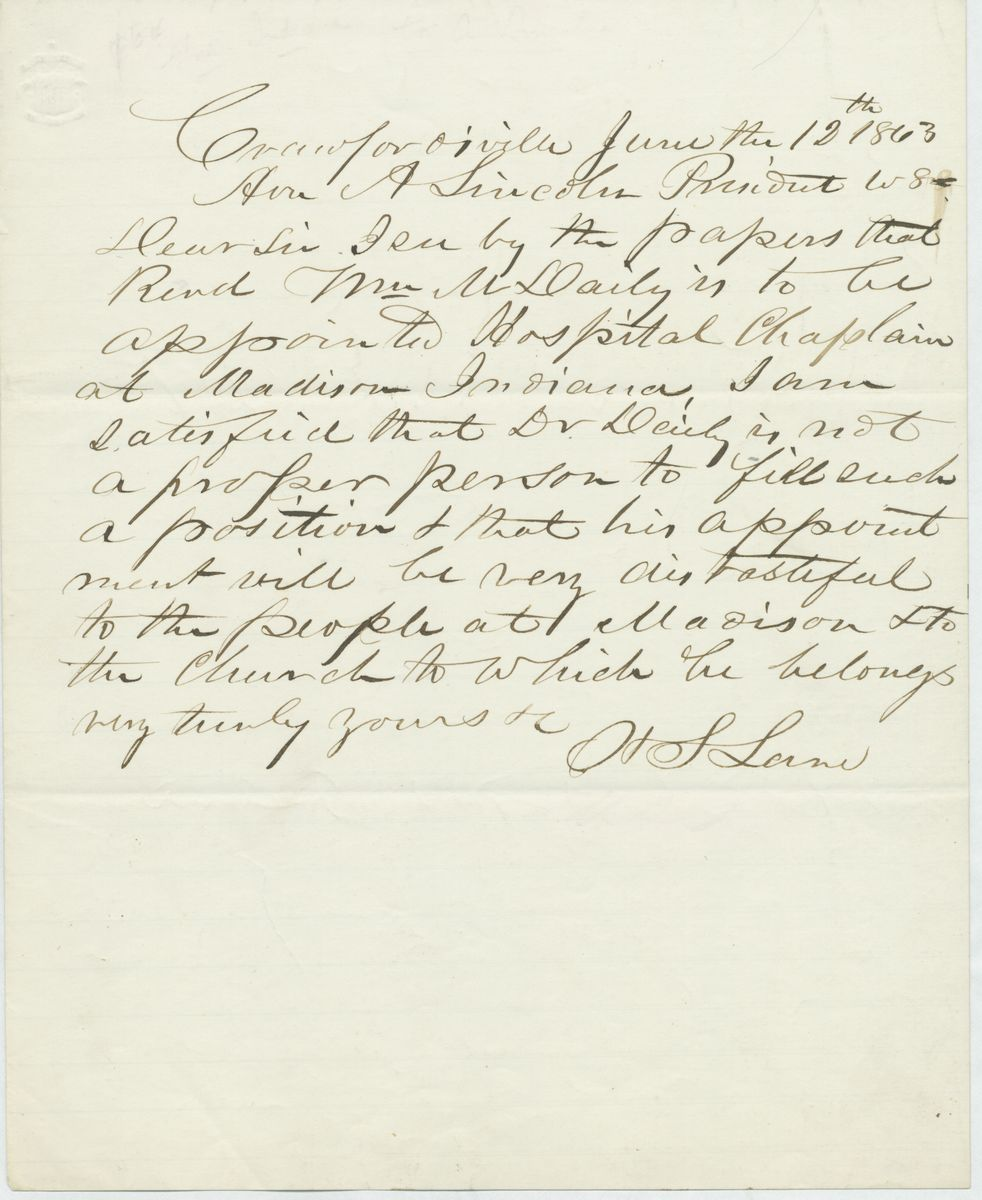 Image: Letter from Henry Smith Lane to Abraham Lincoln