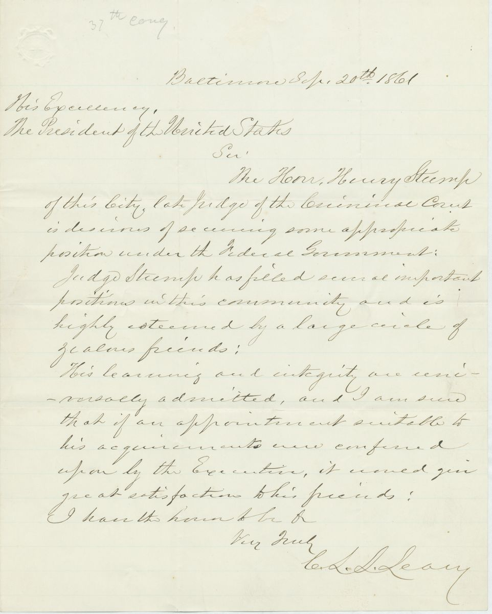 Image: Letter from C.L.L. Leary to Abraham Lincoln