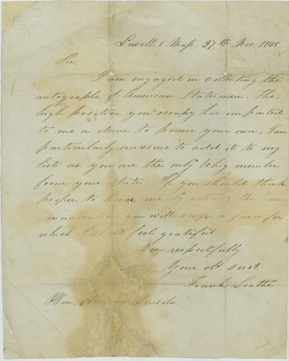 Image: Letter from Frank Leathe to Abraham Lincoln