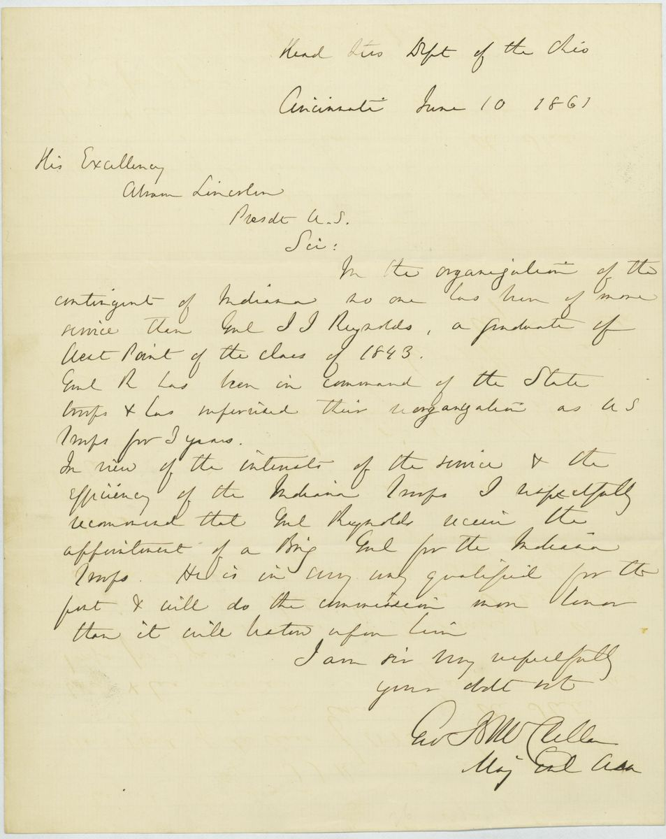 Image: Letter from George B. McClellan to Abraham Lincoln