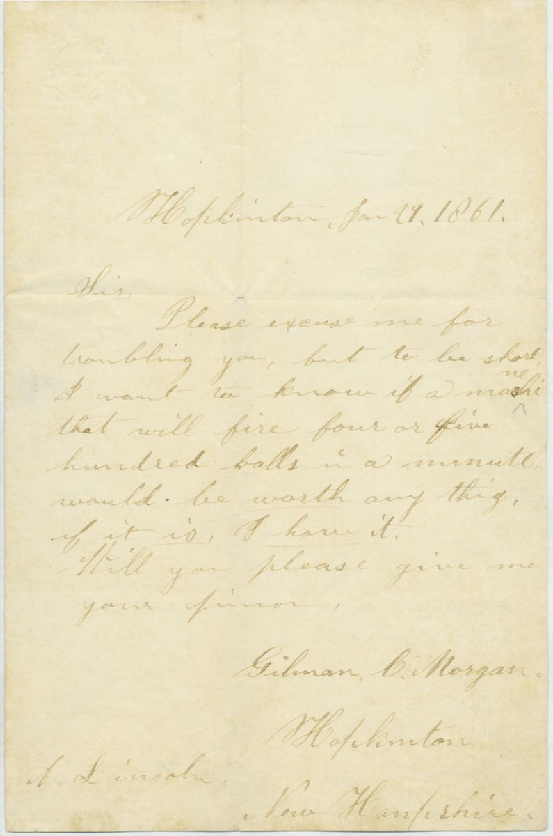 Image: Letter from Gilman C. Morgan to Abraham Lincoln