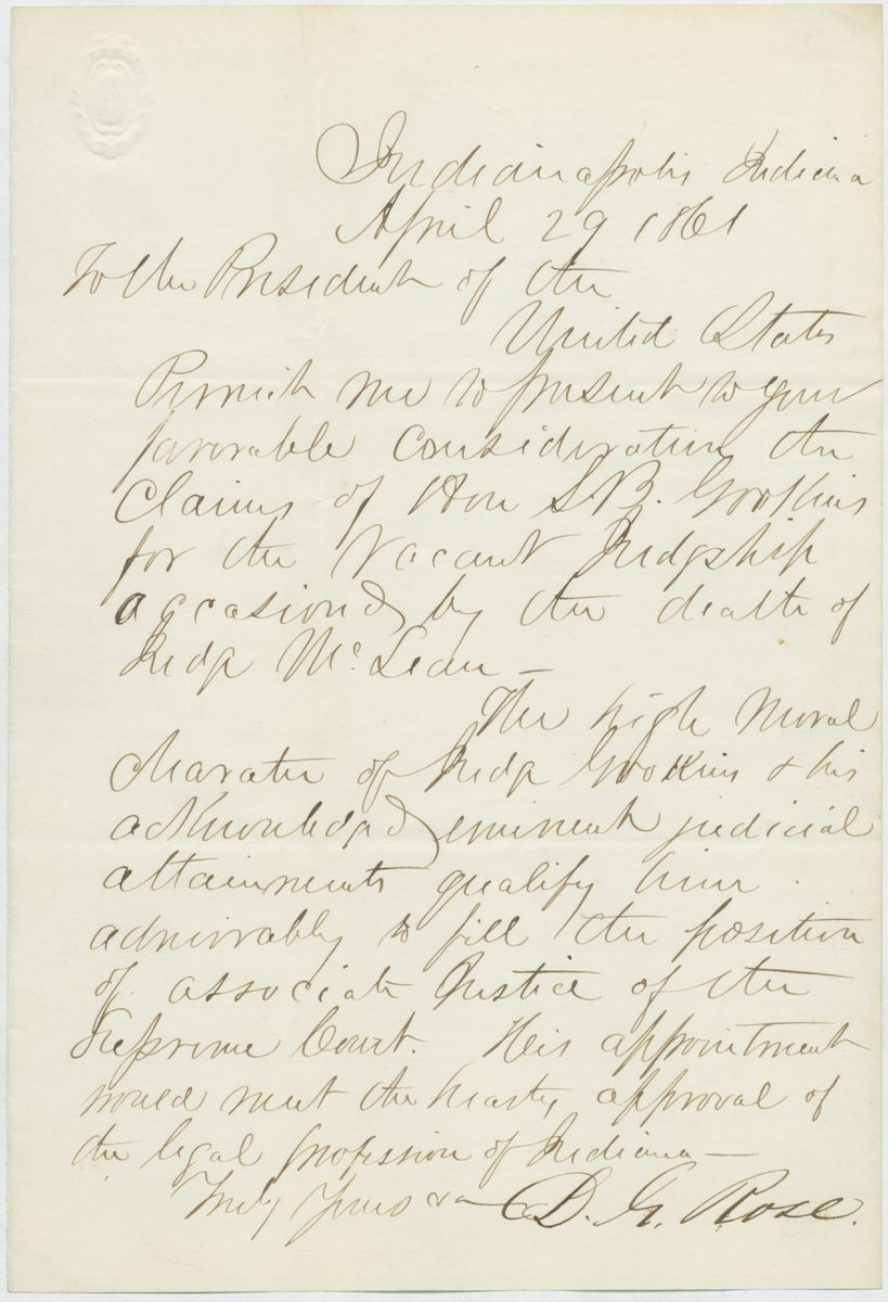 Image: Letter from D.G. Rose to Abraham Lincoln
