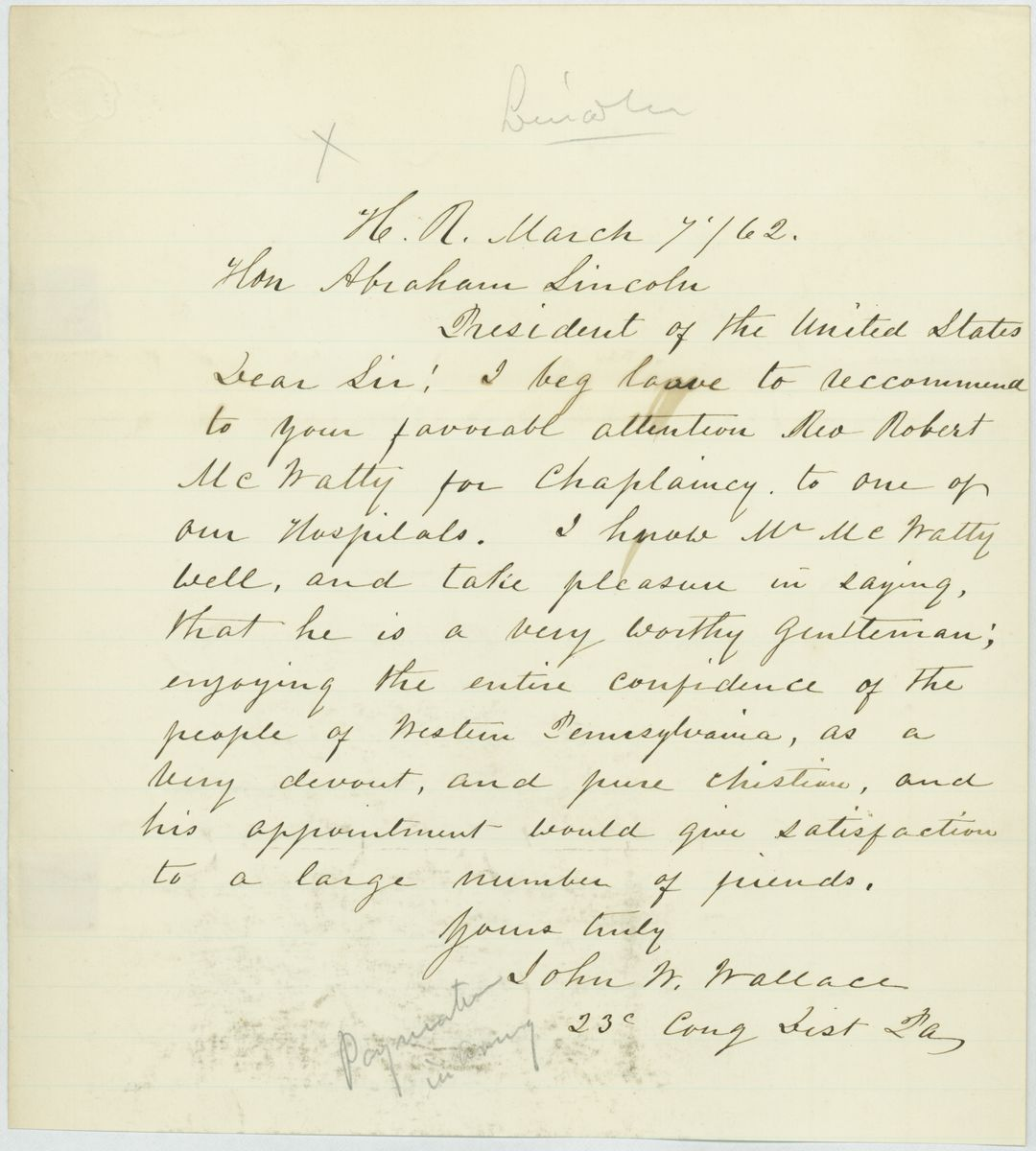 Image: Letter from John W. Wallace to Abraham Lincoln