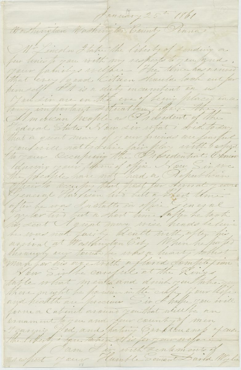 Image: Letter from David Wylie to Abraham Lincoln