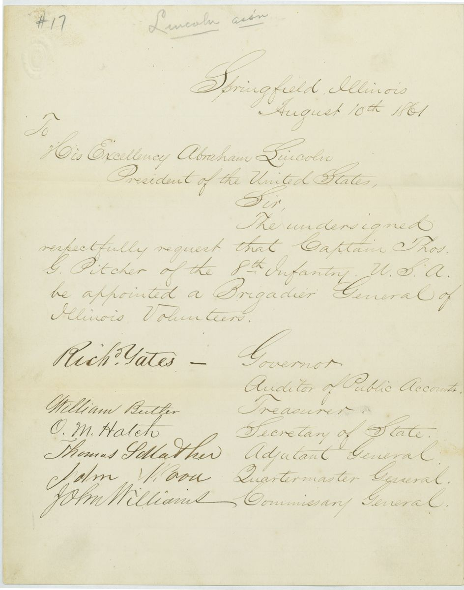 Image: Letter from Richard Yates and Others to Abraham Lincoln