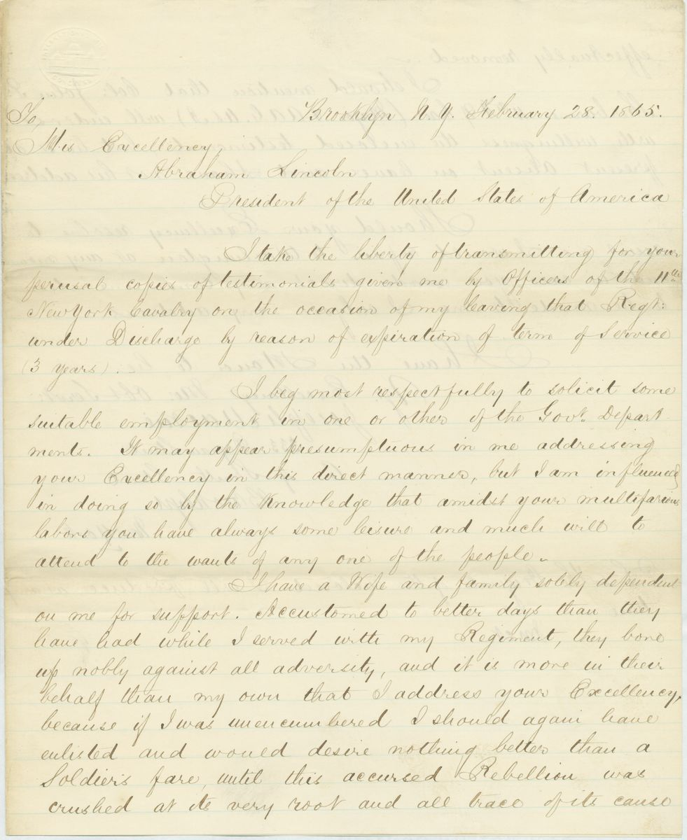 Image: Letter from Joseph Mackie to Abraham Lincoln