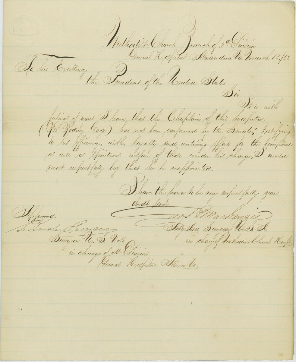 Image: Letter from George P. Mackenzie to Abraham Lincoln