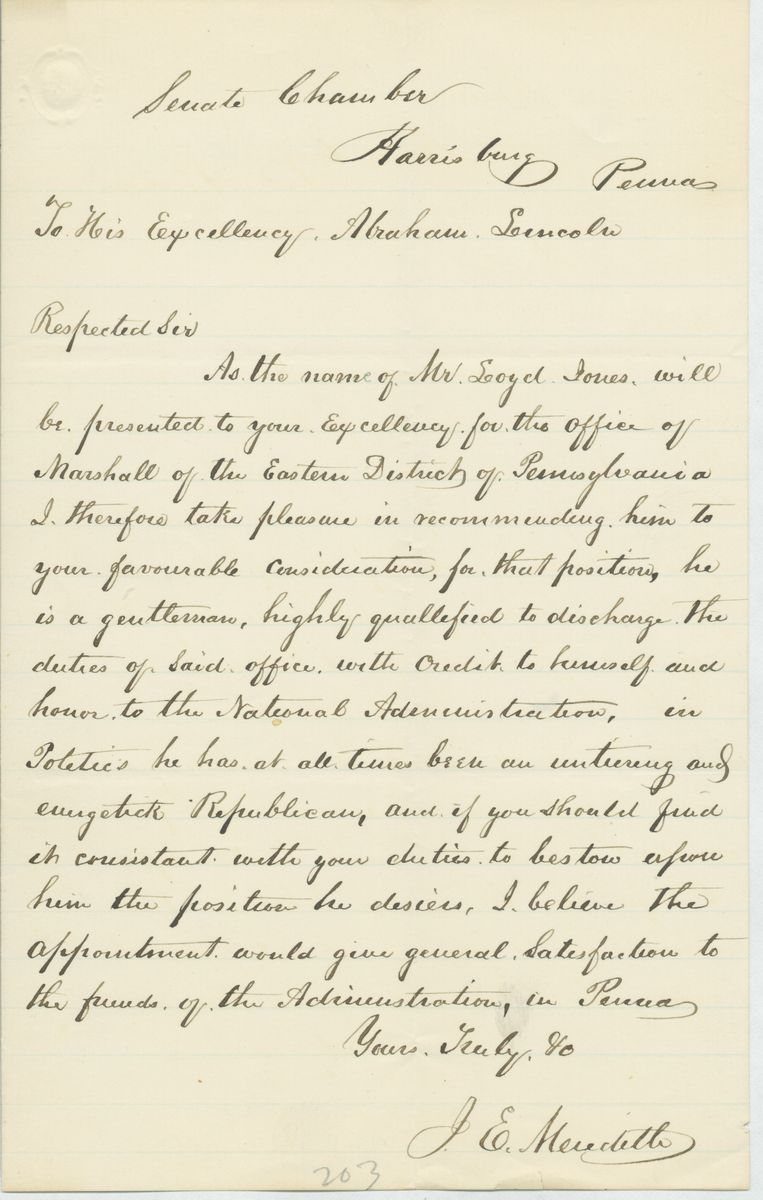 Image: Letter from Jonathan E. Meredith to Abraham Lincoln