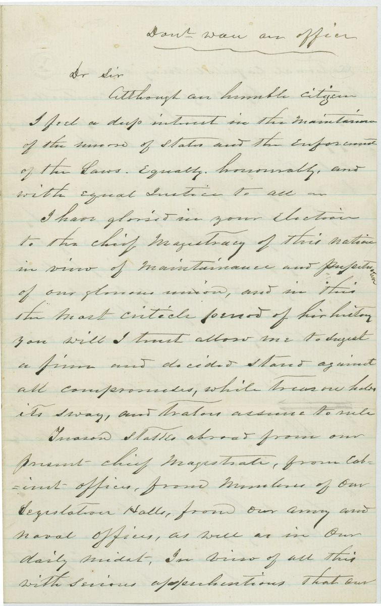 Image: Letter from Silas Merrick to Abraham Lincoln