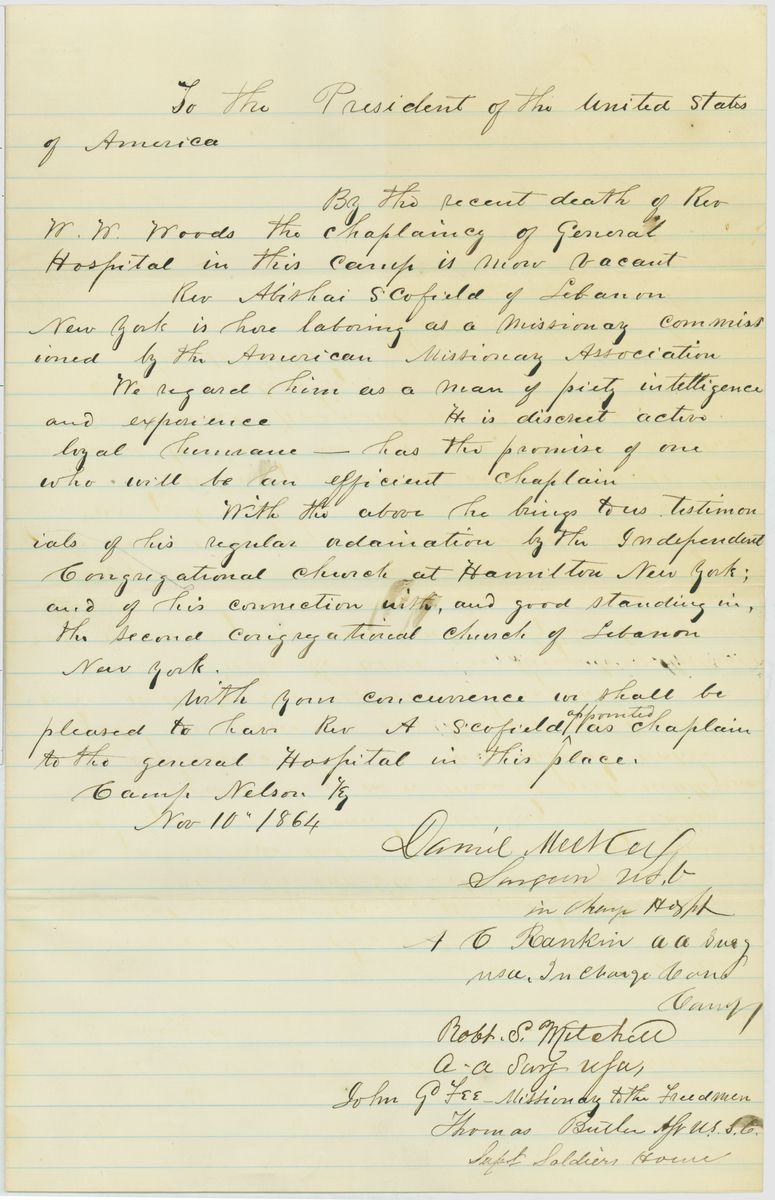 Image: Letter from Daniel Metcalf and Four Others to Abraham Lincoln