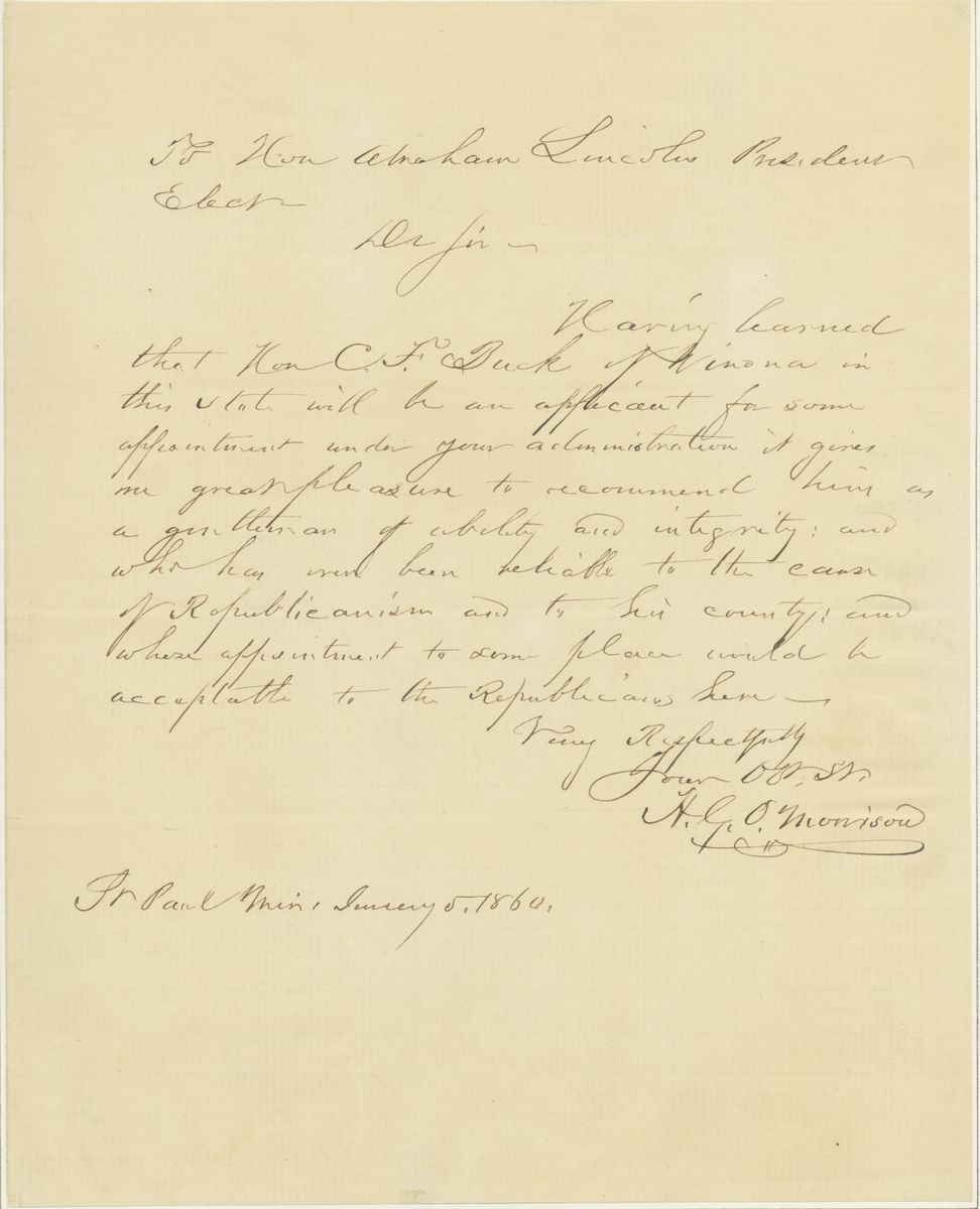 Image: Letter from H.G.O. Morrison to Abraham Lincoln