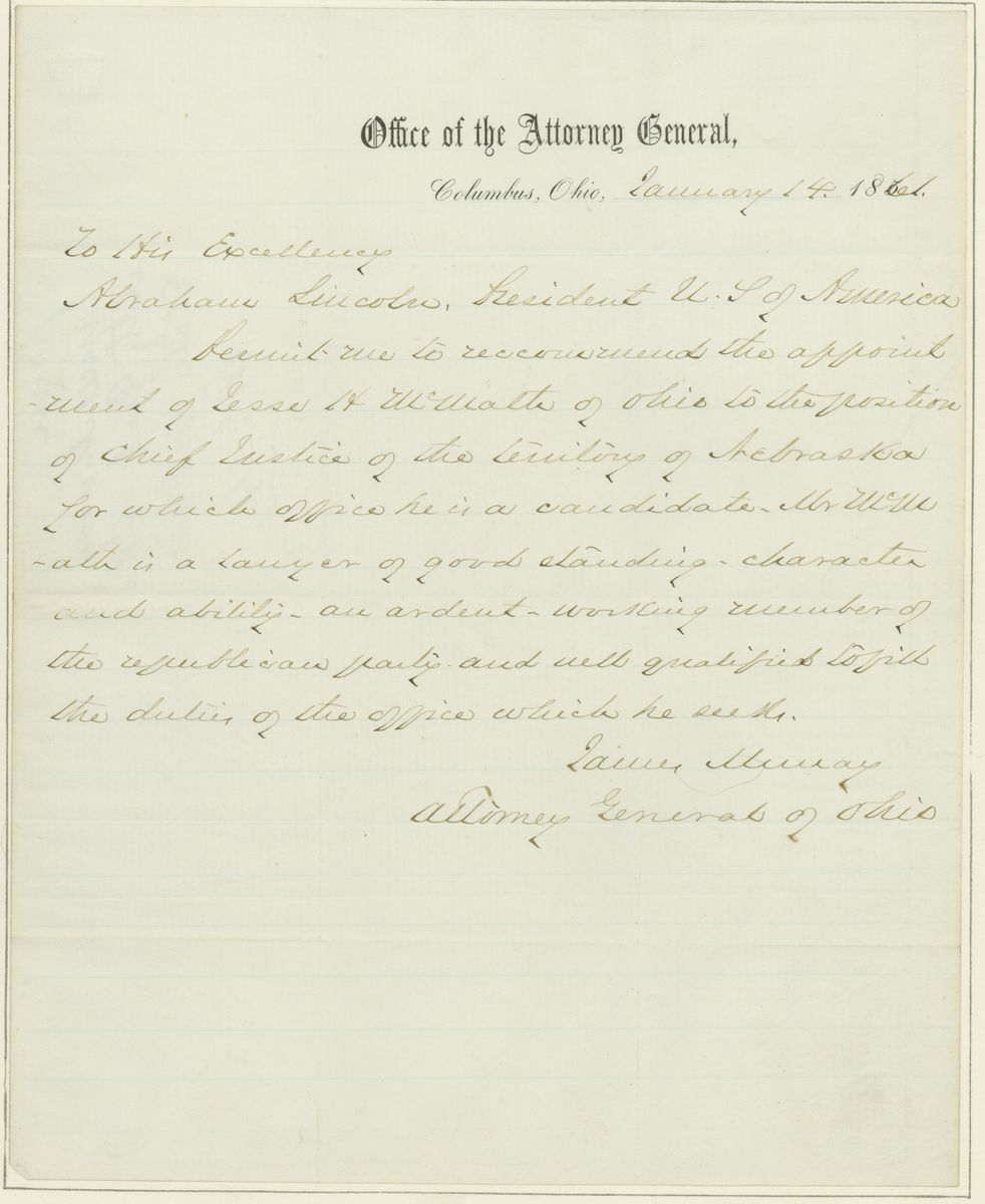Image: Letter from James Murray to Abraham Lincoln