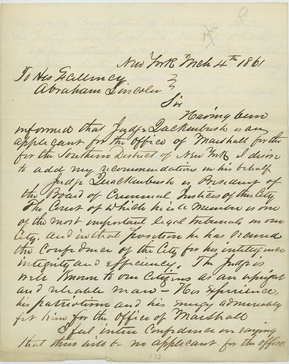 Image: Letter from Guy R. Pelton to Abraham Lincoln