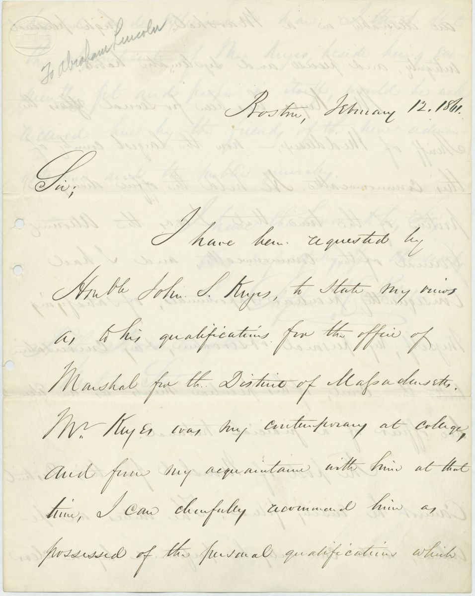 Image: Letter from Stephen H. Phillips to Abraham Lincoln
