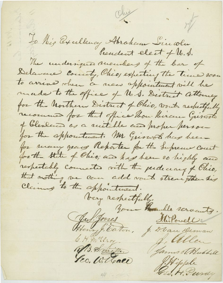 Image: Petition of Members of the Bar of Delaware County, Ohio