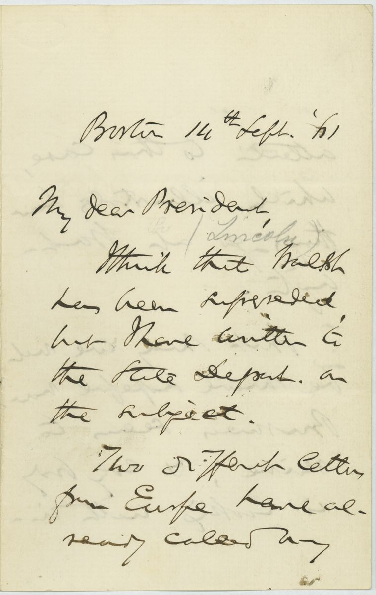 Image: Letter from Charles Sumner to Abraham Lincoln