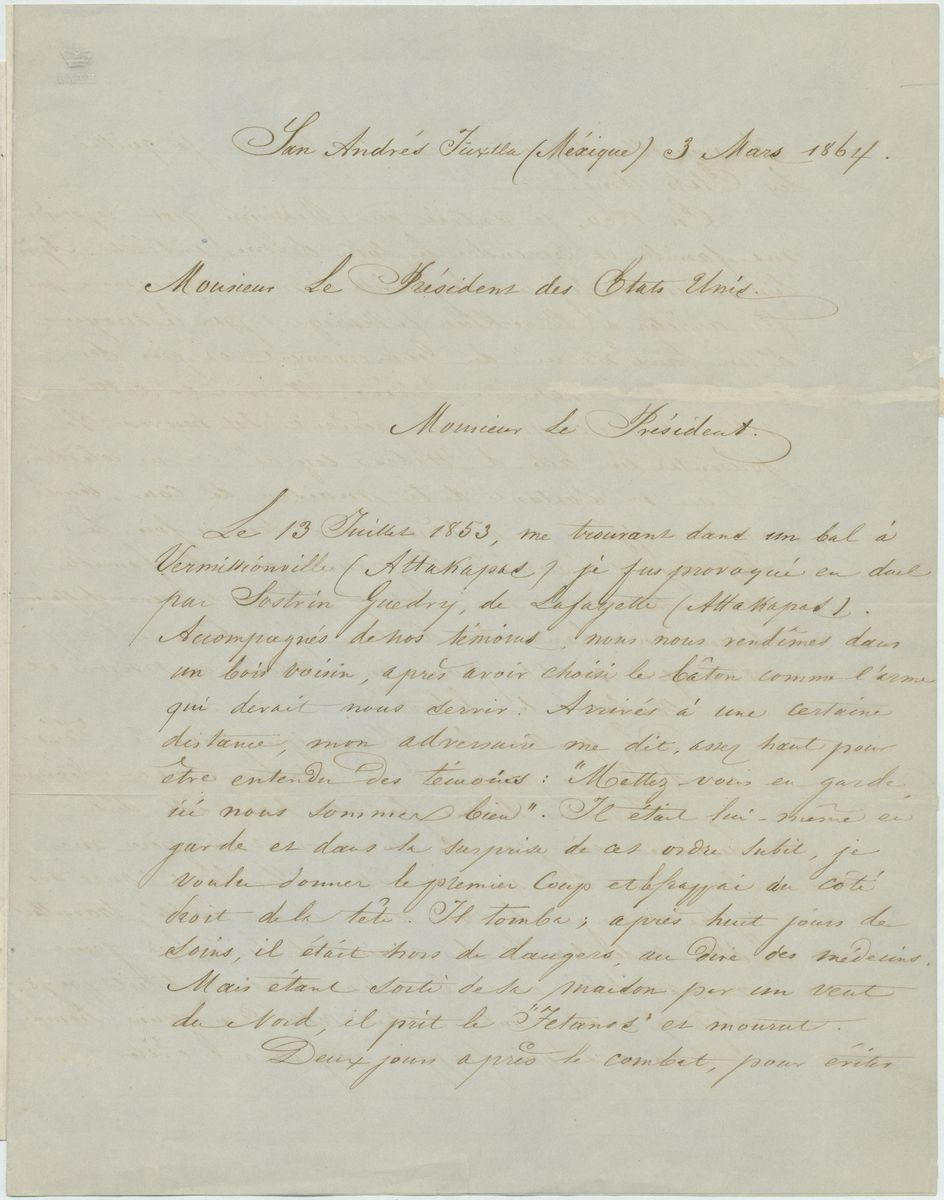 Image: Letter from Alexandre Valleaux to Abraham Lincoln