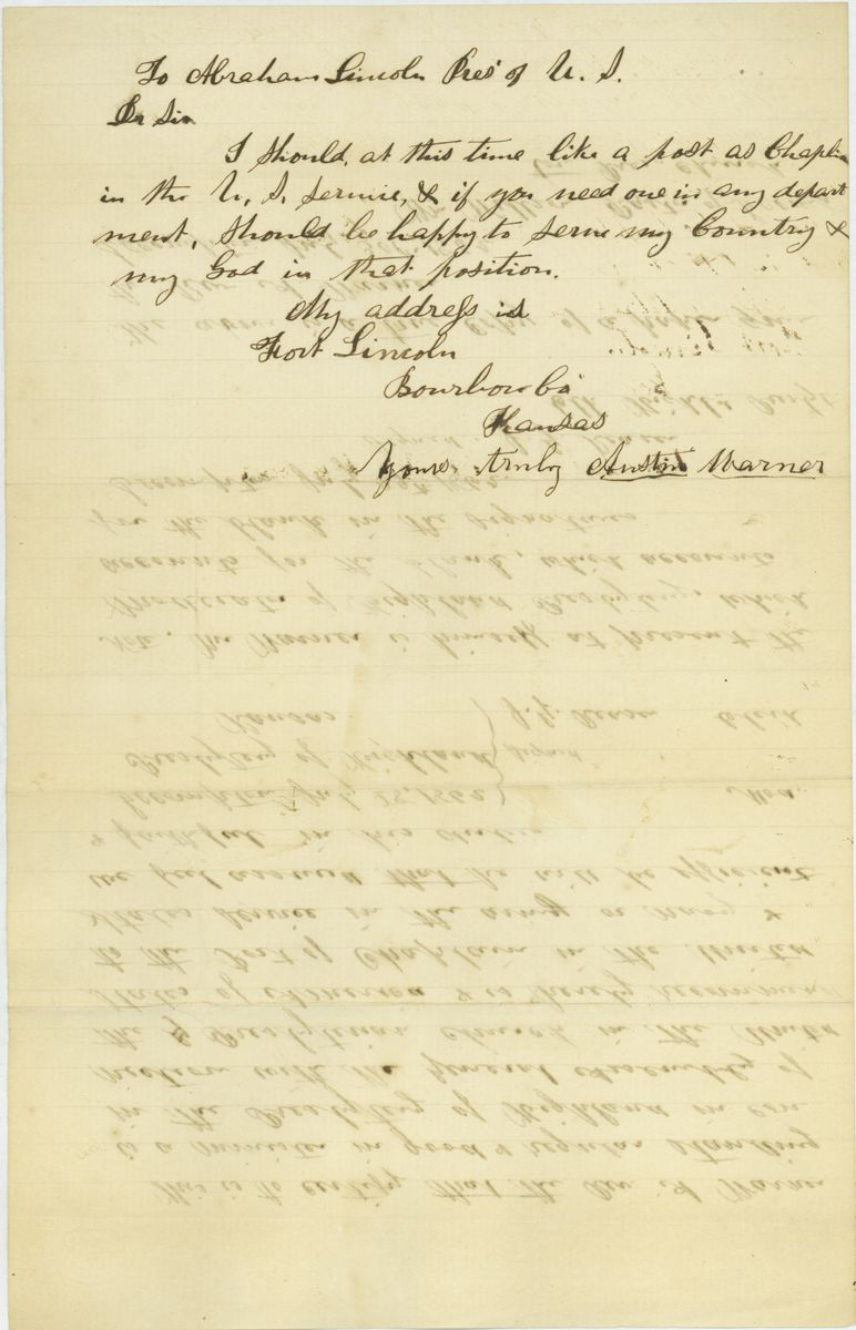 Image: Letter from Rev. Austin Warner to Abraham Lincoln