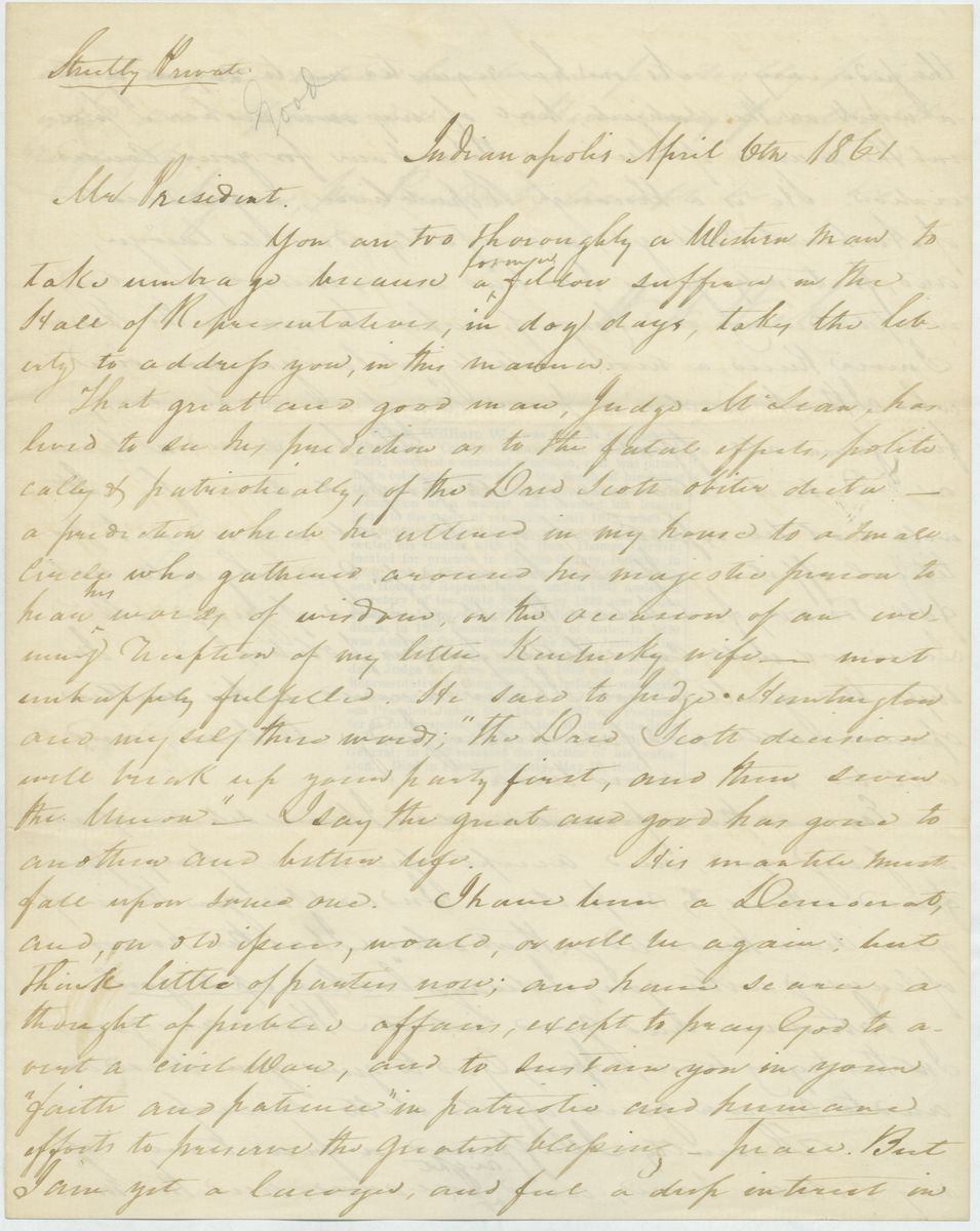Image: Letter from William W. Wick to Abraham Lincoln