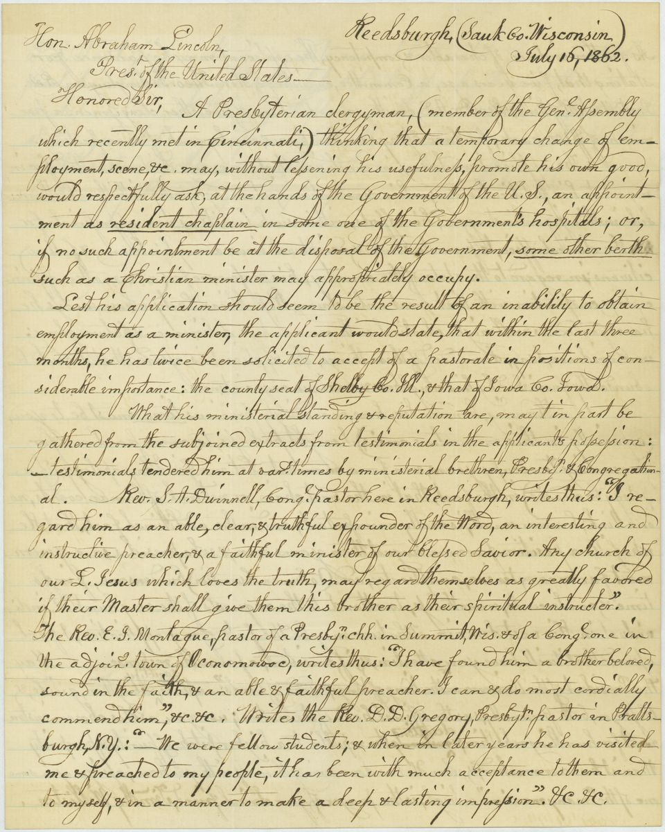 Image: Letter from Rev. Timothy Williston to Abraham Lincoln
