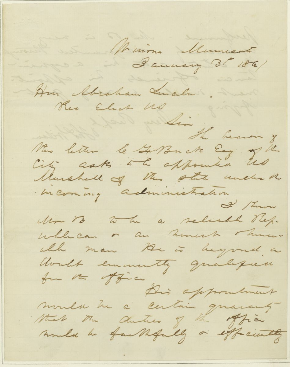 Image: Letter from Thomas Wilson to Abraham Lincoln