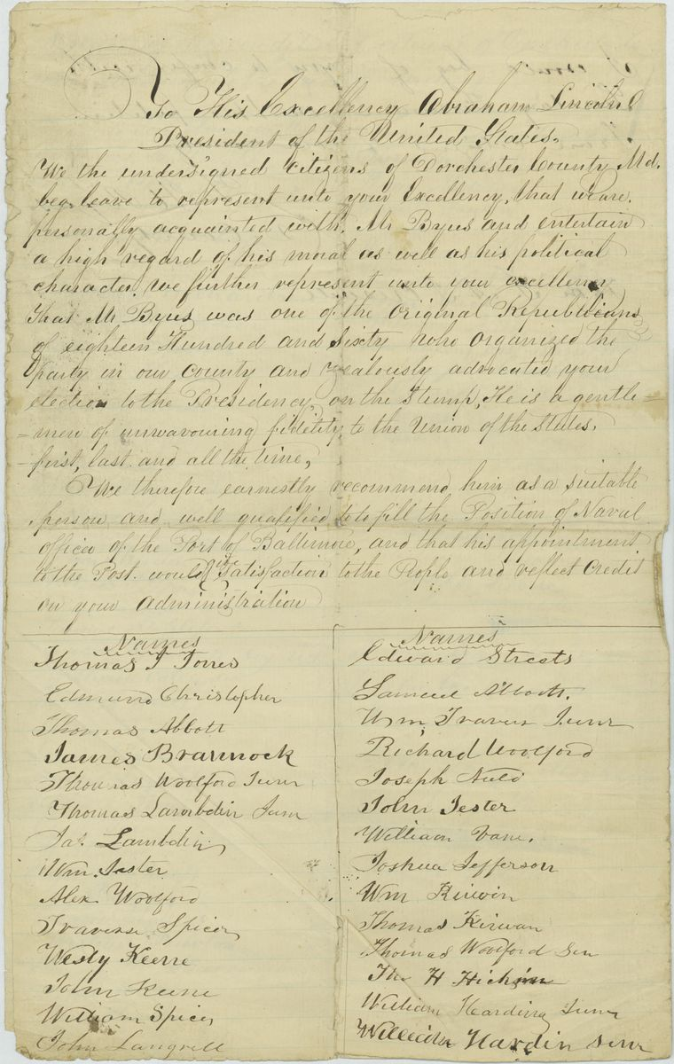 Image: Petition of the Undersigned Citizens of Dorchester County, Maryland