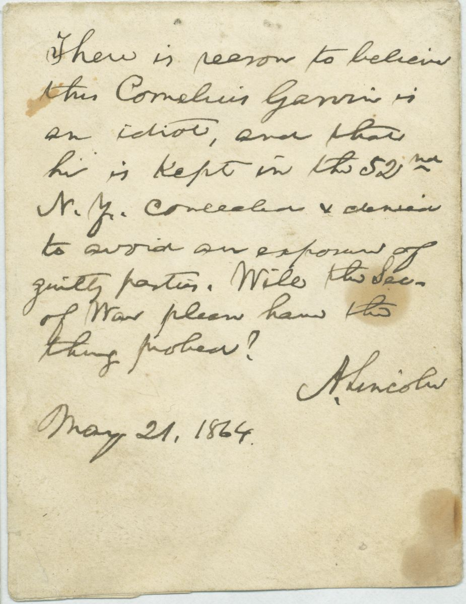 Image: Note from Abraham Lincoln to Edwin Stanton