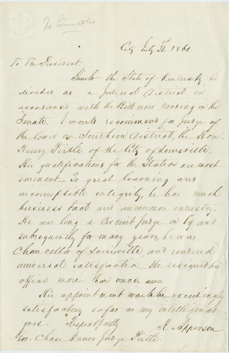 Image: Letter from R. Apperson to Abraham Lincoln
