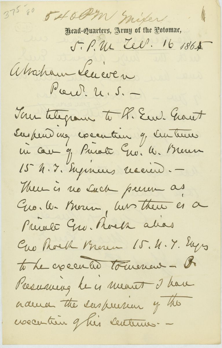 Image: Letter from George G. Meade to Abraham Lincoln