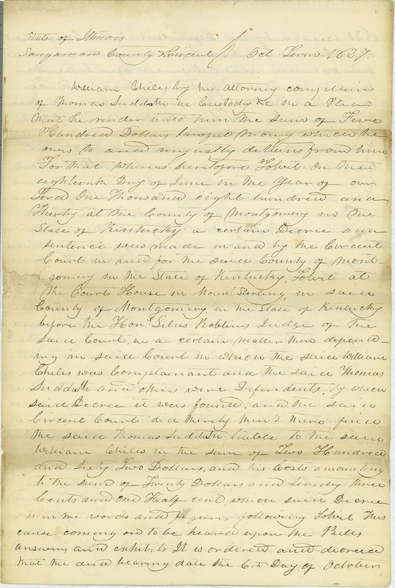 Image: Declaration in William Chiles vs. Thomas Sudduth
