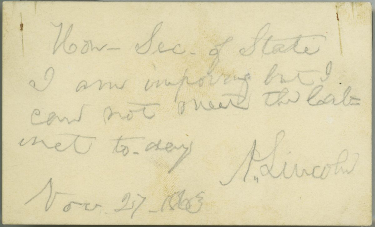 Image: Note from Abraham Lincoln to William Seward