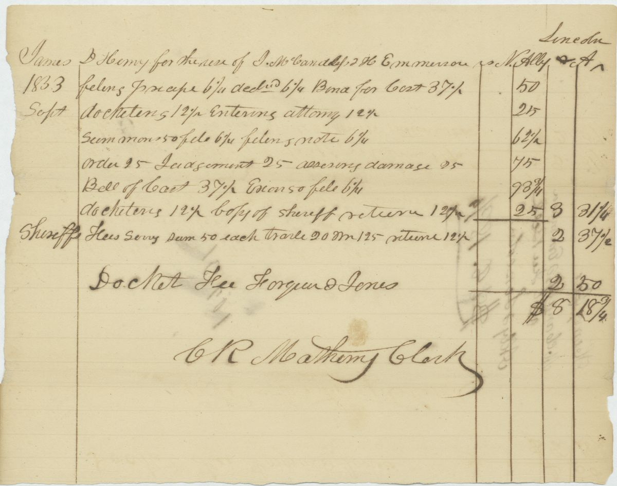 Image: Bill for Court Costs in James D. Henry for the use of J. McCandless & H. Emmerson v. Nelson Alley & Abraham Lincoln